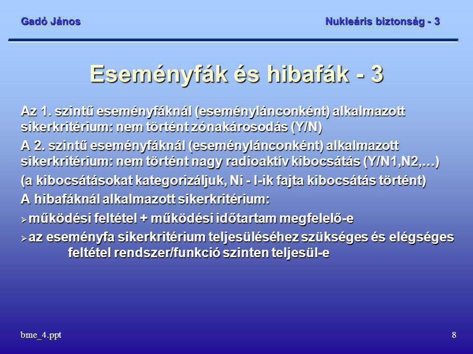 Gadó János Nukleáris biztonság - 3 bme_4.ppt9 Eseményfák és hibafák - 4 Ha minden eseményláncra ismerjük a kezdeti esemény gyakoriságát és a beavatkozások sikerességének valószínűségeit, akkor könnyen megkapjuk a végesemény gyakoriságát is: f vég = f kezdeti * p 1 * p 2 * … p n ahol n a beavatkozó rendszerek száma és p i annak valószínűsége, hogy az i-ik rendszer beavatkozása az adott eseményláncnak megfelelően sikeres, avagy sikertelen.