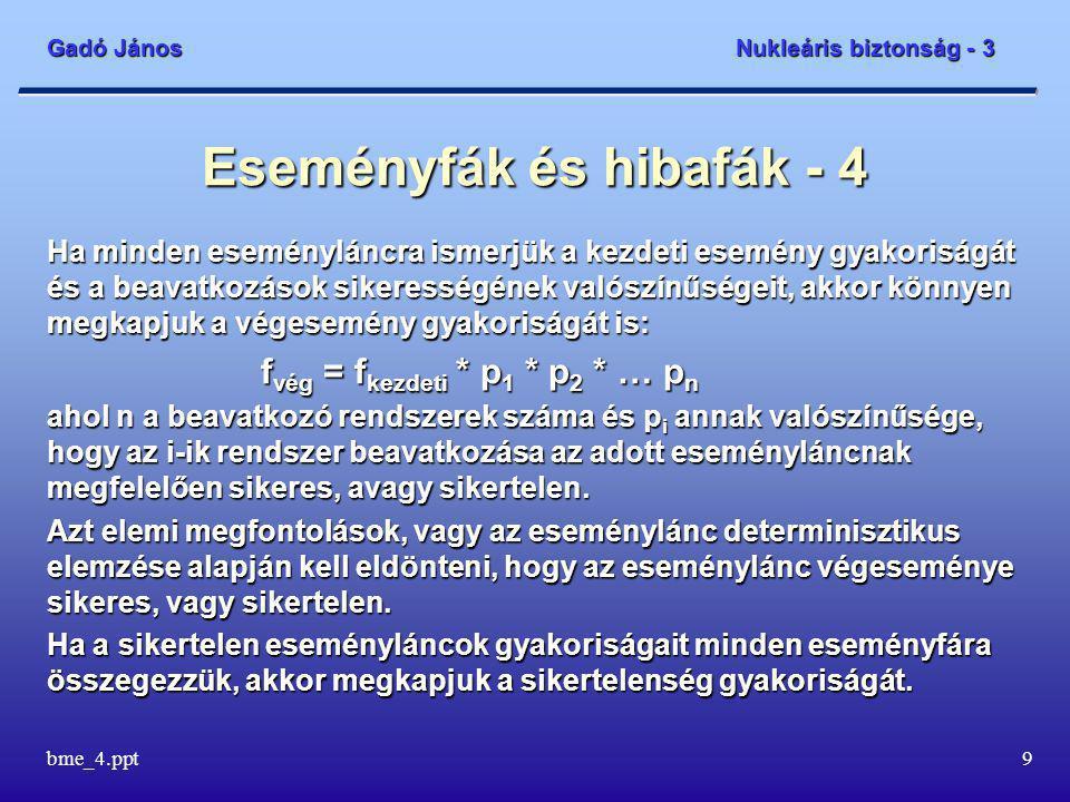 Gadó János Nukleáris biztonság - 3 bme_4.ppt30 A zónasérülési gyakoriság és az erőműsérülési állapotok - 7 A hidrogén égése/robbanása csak bizonyos feltételek teljesülésekor jön létre.