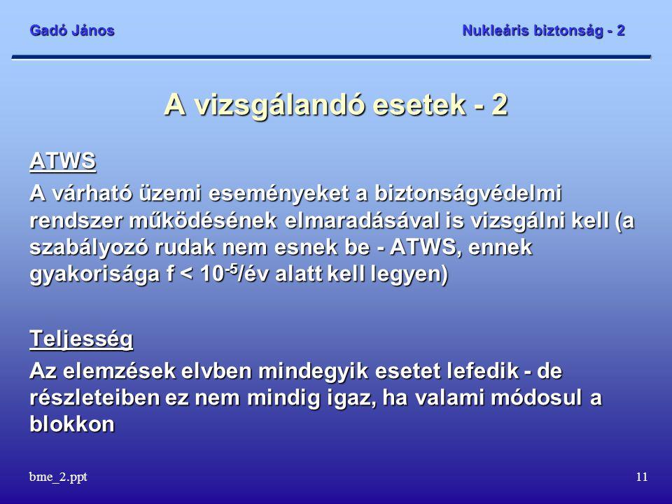 Gadó János Nukleáris biztonság - 2 bme_2.ppt11 A vizsgálandó esetek - 2 ATWS A várható üzemi eseményeket a biztonságvédelmi rendszer működésének elmaradásával is vizsgálni kell (a szabályozó rudak nem esnek be - ATWS, ennek gyakorisága f < 10 -5 /év alatt kell legyen) Teljesség Az elemzések elvben mindegyik esetet lefedik - de részleteiben ez nem mindig igaz, ha valami módosul a blokkon