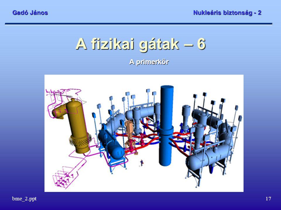 Gadó János Nukleáris biztonság - 2 bme_2.ppt17 A fizikai gátak – 6 A primerkör