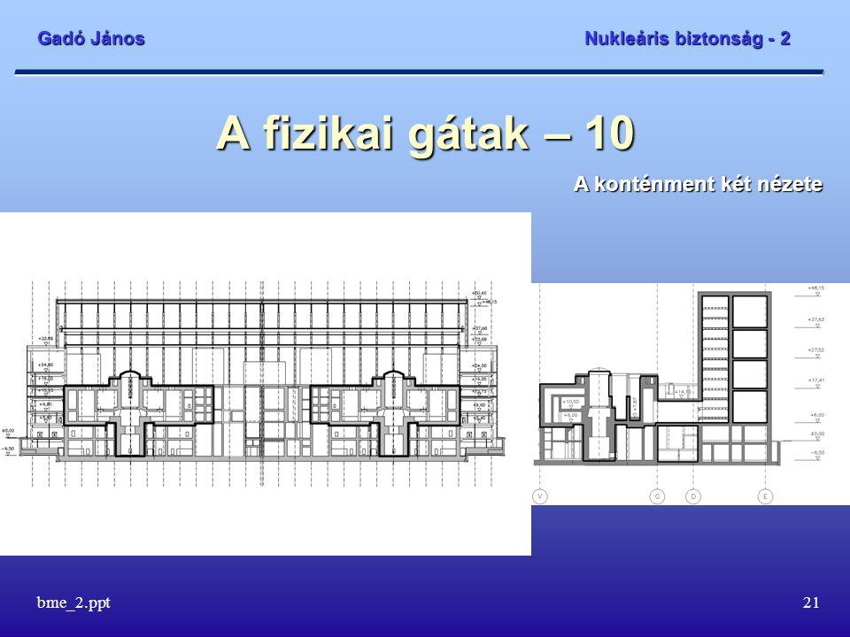 Gadó János Nukleáris biztonság - 2 bme_2.ppt21 A fizikai gátak – 10 A konténment két nézete