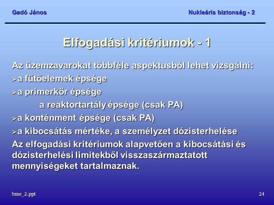 Gadó János Nukleáris biztonság - 2 bme_2.ppt24 Elfogadási kritériumok - 1 Az üzemzavarokat többféle aspektusból lehet vizsgálni:  a fűtőelemek épsége  a primerkör épsége a reaktortartály épsége (csak PA) a reaktortartály épsége (csak PA)  a konténment épsége (csak PA)  a kibocsátás mértéke, a személyzet dózisterhelése Az elfogadási kritériumok alapvetően a kibocsátási és dózisterhelési limitekből visszaszármaztatott mennyiségeket tartalmaznak.