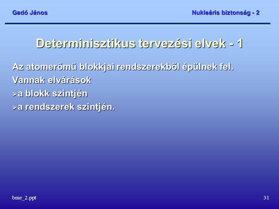 Gadó János Nukleáris biztonság - 2 bme_2.ppt31 Determinisztikus tervezési elvek - 1 Az atomerőmű blokkjai rendszerekből épülnek fel.