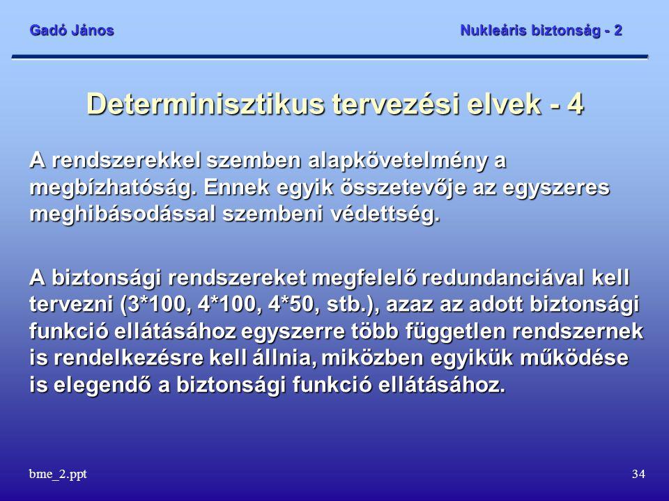 Gadó János Nukleáris biztonság - 2 bme_2.ppt34 Determinisztikus tervezési elvek - 4 A rendszerekkel szemben alapkövetelmény a megbízhatóság.