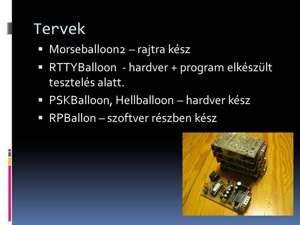 Tervek  Morseballoon2 – rajtra kész  RTTYBalloon - hardver + program elkészült tesztelés alatt.