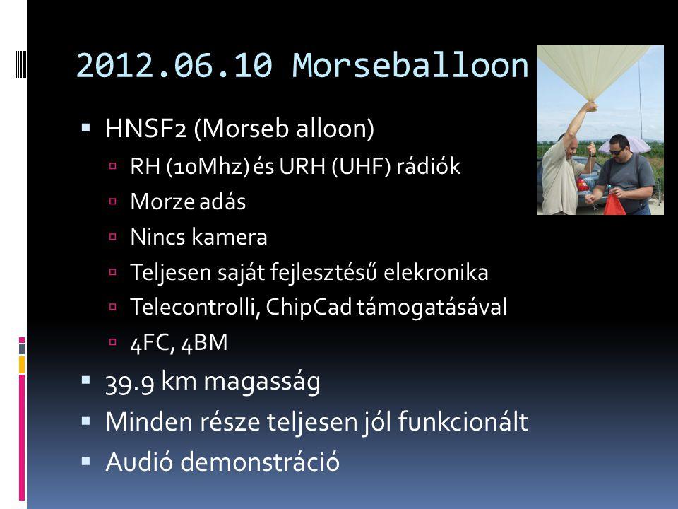 2012.06.10 Morseballoon  HNSF2 (Morseb alloon)  RH (10Mhz) és URH (UHF) rádiók  Morze adás  Nincs kamera  Teljesen saját fejlesztésű elekronika  Telecontrolli, ChipCad támogatásával  4FC, 4BM  39.9 km magasság  Minden része teljesen jól funkcionált  Audió demonstráció