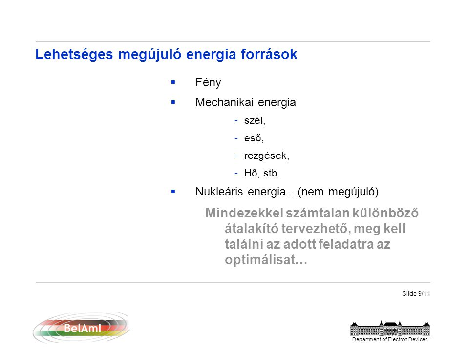 Slide 10/11 Department of Electron Devices Pl.