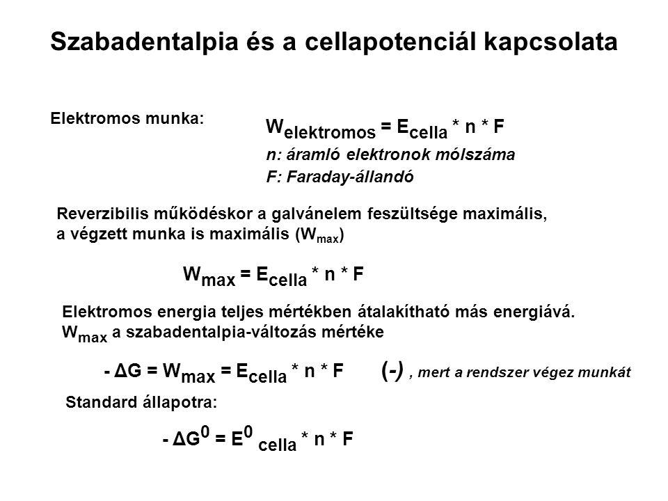 Szabadentalpia és a cellapotenciál kapcsolata Elektromos munka: W elektromos = E cella * n * F n: áramló elektronok mólszáma F: Faraday-állandó Reverzibilis működéskor a galvánelem feszültsége maximális, a végzett munka is maximális (W max ) W max = E cella * n * F Elektromos energia teljes mértékben átalakítható más energiává.