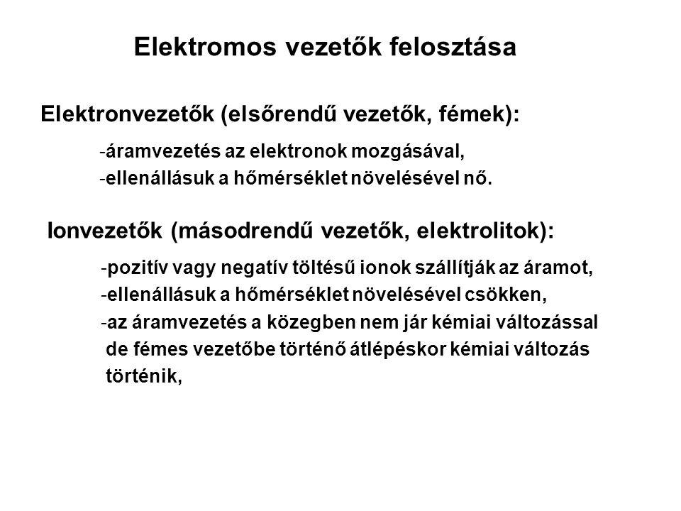 Elektromos vezetők felosztása Elektronvezetők (elsőrendű vezetők, fémek): -áramvezetés az elektronok mozgásával, -ellenállásuk a hőmérséklet növelésév