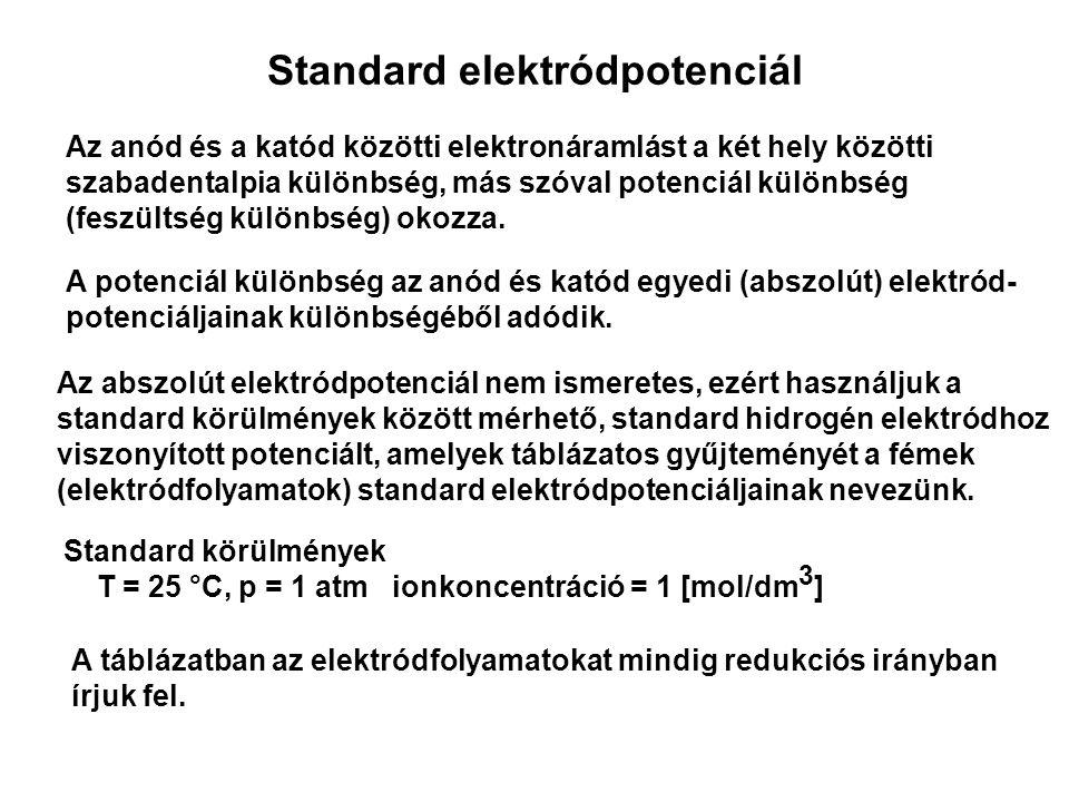 Standard elektródpotenciál Az anód és a katód közötti elektronáramlást a két hely közötti szabadentalpia különbség, más szóval potenciál különbség (feszültség különbség) okozza.
