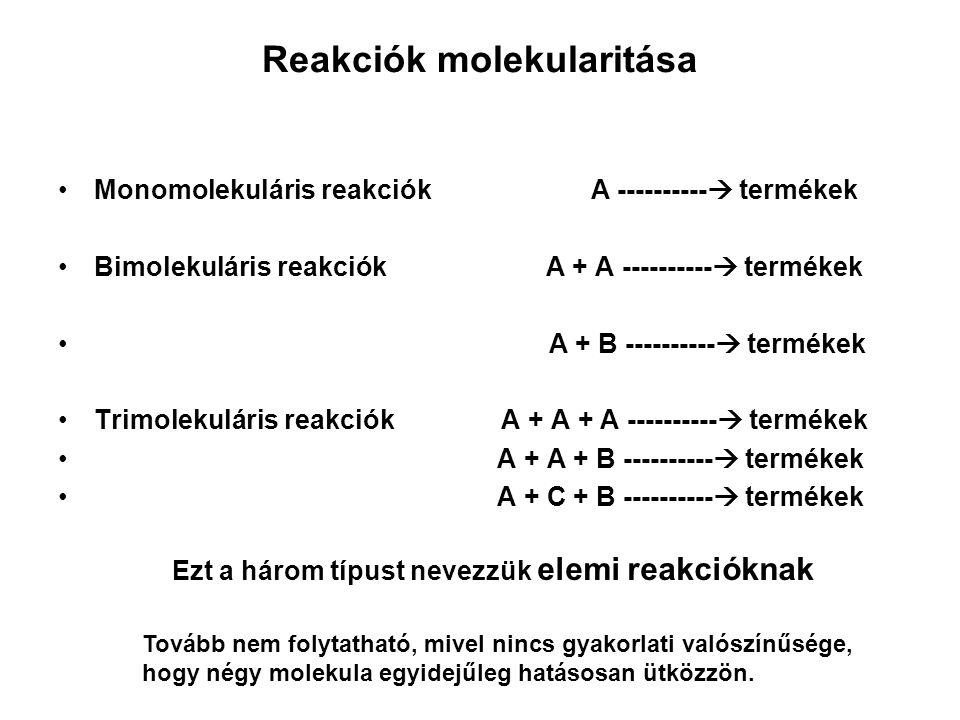 Reakciósebesség Időegység alatt bekövetkező koncentráció változás: Monomolekuláris reakcióknál v = k [A] Bimolekuláris reakcióknál v = k [A] 2 vagy v = k [A][B] Trimolekuláris reakcióknál v = k[A] 3 vagy v = k[A][B] 2 ….