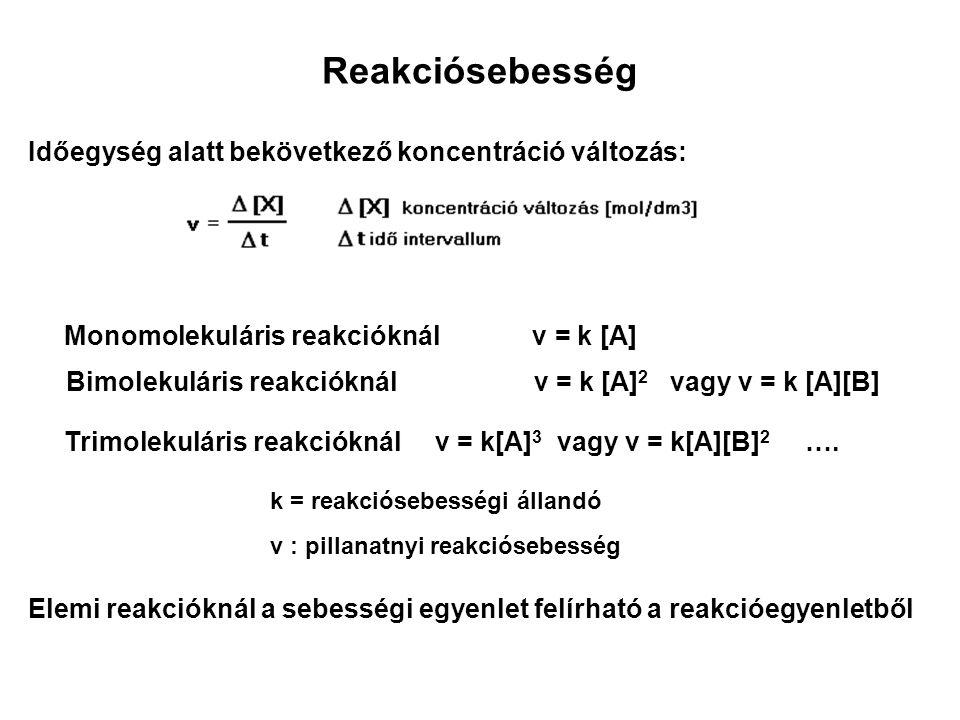 Összetett reakciók reakciósebessége 2 A + 4 B + 5 C = E + 6 D ▼ a, b, c : kitevők tetszőleges számok, részrendek, a reakció részrendjei csak kísérletileg határozhatók meg a+b+c = a reakció rendűsége, bruttó rendje v = k [A] a ● [B] b ● [C] c v = k [A] 4 ● [B] -1,2 ● [C] 0 Ennél a reakciónál [A] koncentrációjának növelése robbanáshoz vezethet [B] koncentrációjának növelésével a reakció lassulását lehet elérni, [C] koncentrációja nem befolyásolja a reakciósebességet