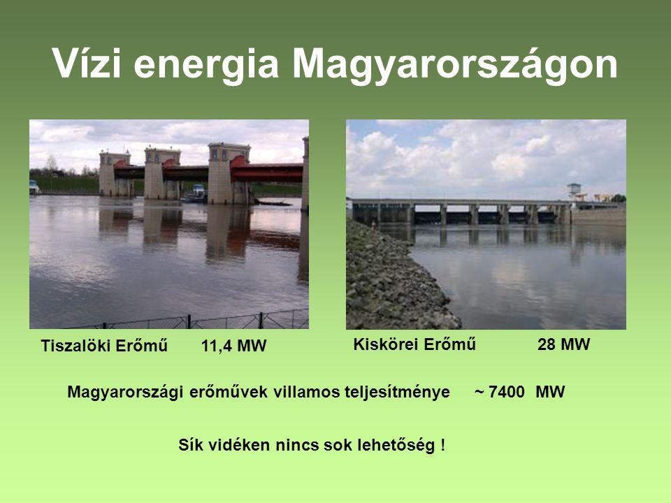 Vízi energia Magyarországon Tiszalöki Erőmű 11,4 MW Kiskörei Erőmű 28 MW Magyarországi erőművek villamos teljesítménye ~ 7400 MW Sík vidéken nincs sok