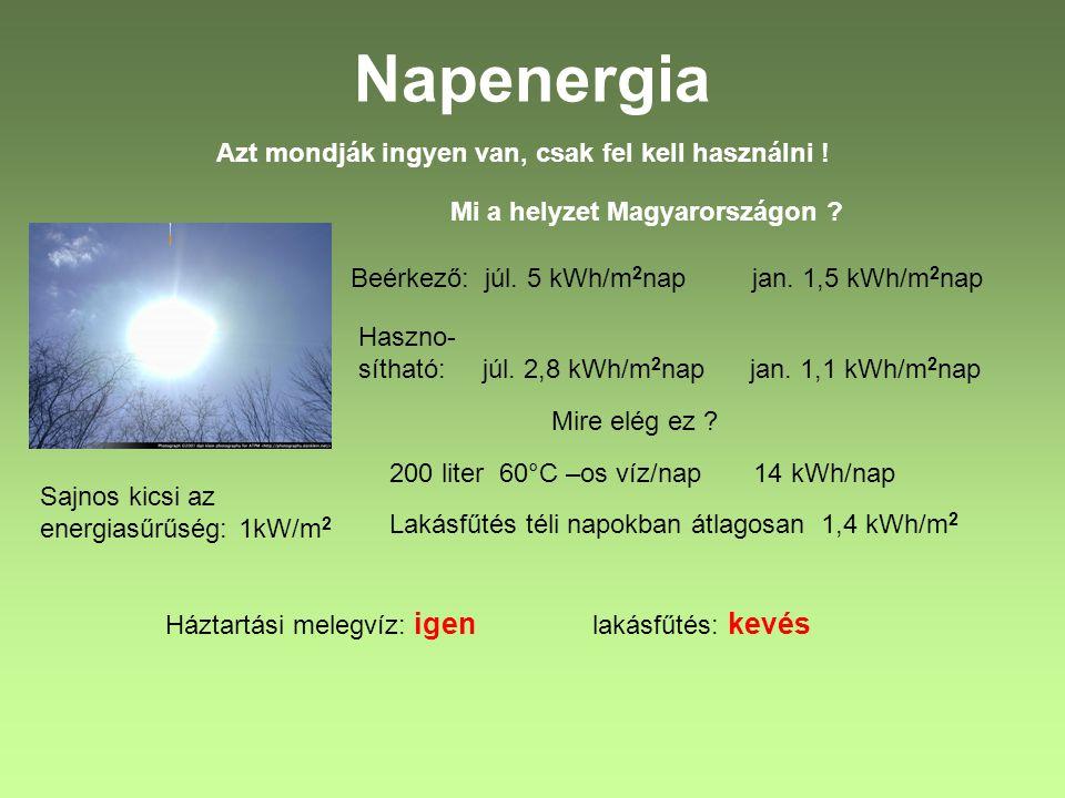 Napenergia Azt mondják ingyen van, csak fel kell használni ! Sajnos kicsi az energiasűrűség: 1kW/m 2 Mi a helyzet Magyarországon ? Beérkező: júl. 5 kW