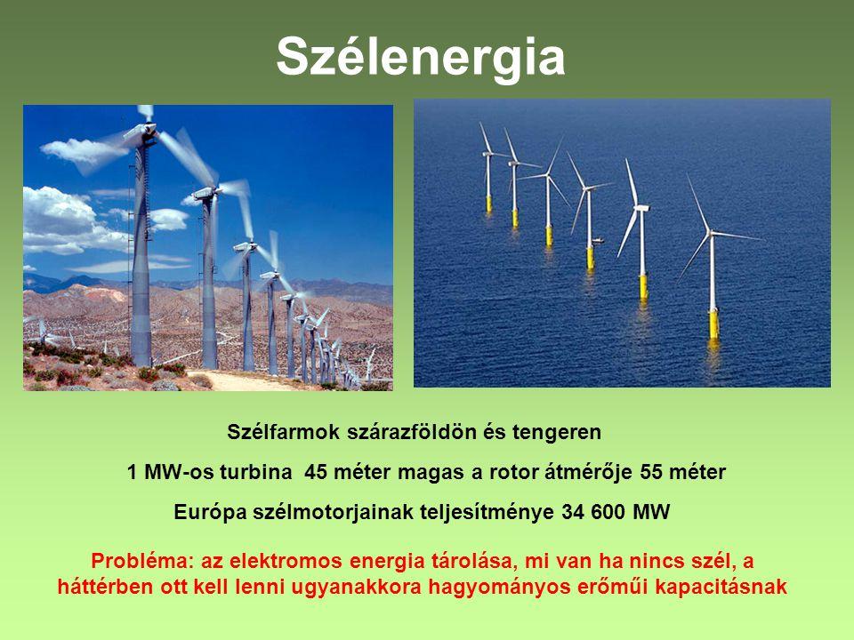 Szélenergia Szélfarmok szárazföldön és tengeren 1 MW-os turbina 45 méter magas a rotor átmérője 55 méter Európa szélmotorjainak teljesítménye 34 600 M