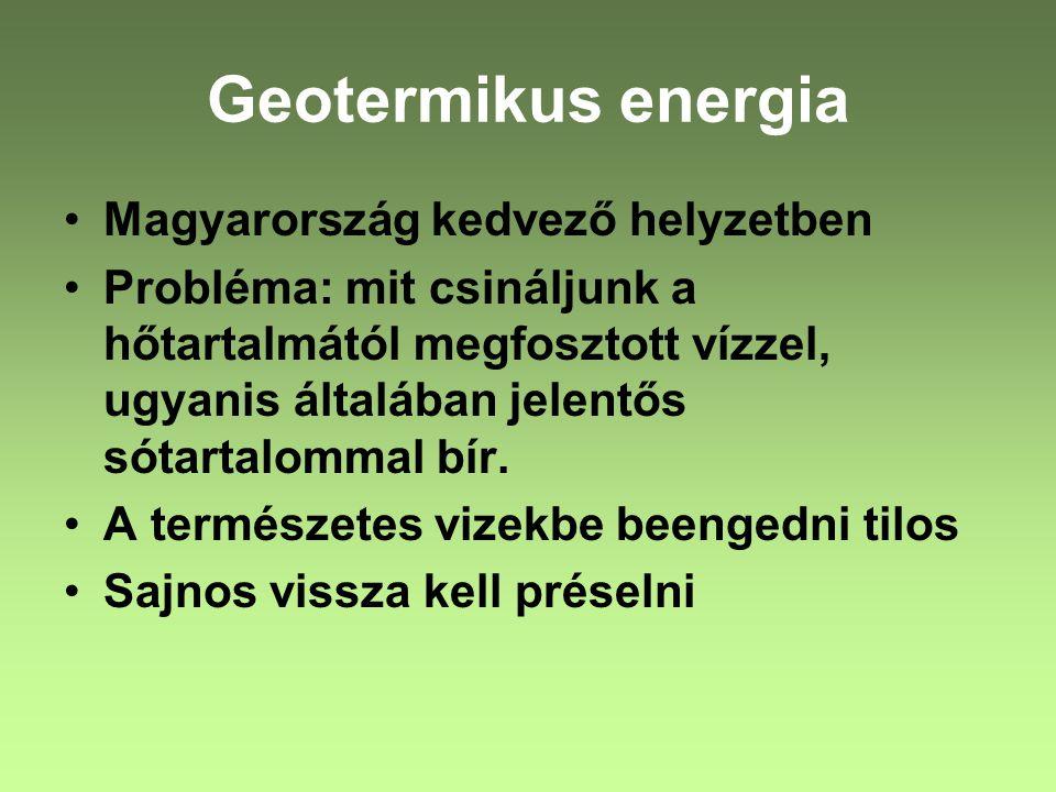 Magyarország kedvező helyzetben Probléma: mit csináljunk a hőtartalmától megfosztott vízzel, ugyanis általában jelentős sótartalommal bír. A természet