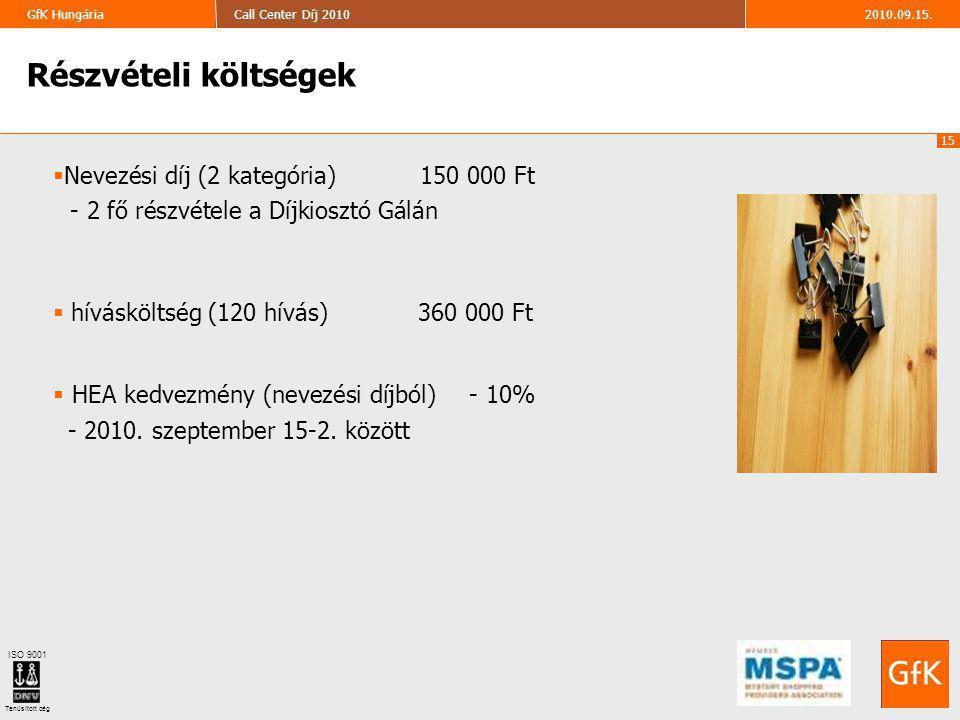 15 2010.09.15.Call Center Díj 2010GfK Hungária ISO 9001 Tanúsított cég Részvételi költségek  Nevezési díj (2 kategória) 150 000 Ft - 2 fő részvétele a Díjkiosztó Gálán  hívásköltség (120 hívás) 360 000 Ft  HEA kedvezmény (nevezési díjból) - 10% - 2010.