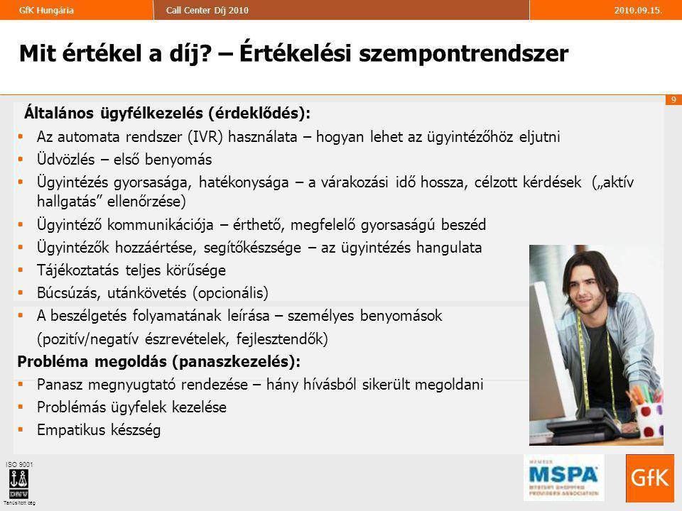 20 2010.09.15.Call Center Díj 2010GfK Hungária ISO 9001 Tanúsított cég Kapcsolat További információval, kéréssel, konkrét ajánlattal szívesen állunk rendelkezésükre, forduljanak hozzánk bizalommal.