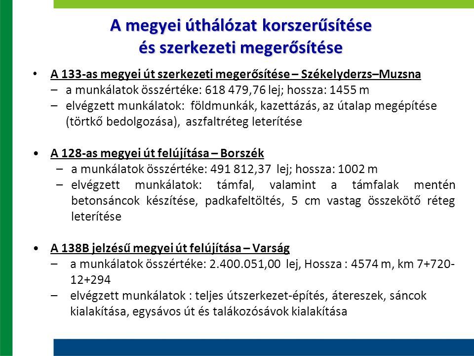 A megyei úthálózat korszerűsítése és szerkezeti megerősítése A 133-as megyei út szerkezeti megerősítése – Székelyderzs–Muzsna –a munkálatok összértéke