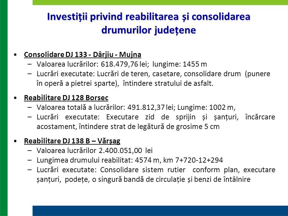 Investiții privind reabilitarea și consolidarea drumurilor județene Consolidare DJ 133 - Dârjiu - Mujna –Valoarea lucrărilor: 618.479,76 lei; lungime: