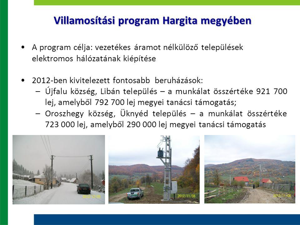 Villamosítási program Hargita megyében A program célja: vezetékes áramot nélkülöző települések elektromos hálózatának kiépítése 2012-ben kivitelezett