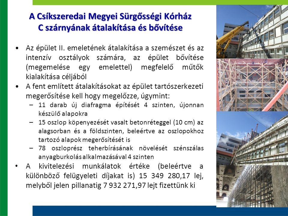 A Csíkszeredai Megyei Sürgősségi Kórház C szárnyának átalakítása és bővítése Az épület II. emeletének átalakítása a szemészet és az intenzív osztályok