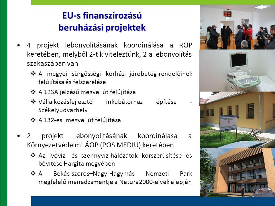 EU-s finanszírozású beruházási projektek 4 projekt lebonyolításának koordinálása a ROP keretében, melyből 2-t kiviteleztünk, 2 a lebonyolítás szakaszá