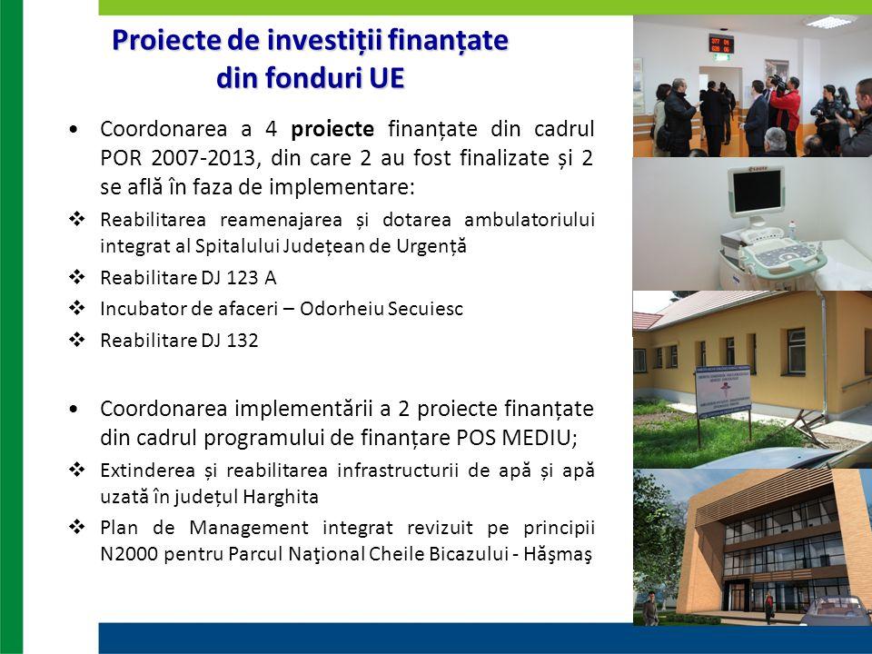 Coordonarea a 4 proiecte finanțate din cadrul POR 2007-2013, din care 2 au fost finalizate și 2 se află în faza de implementare:  Reabilitarea reamen