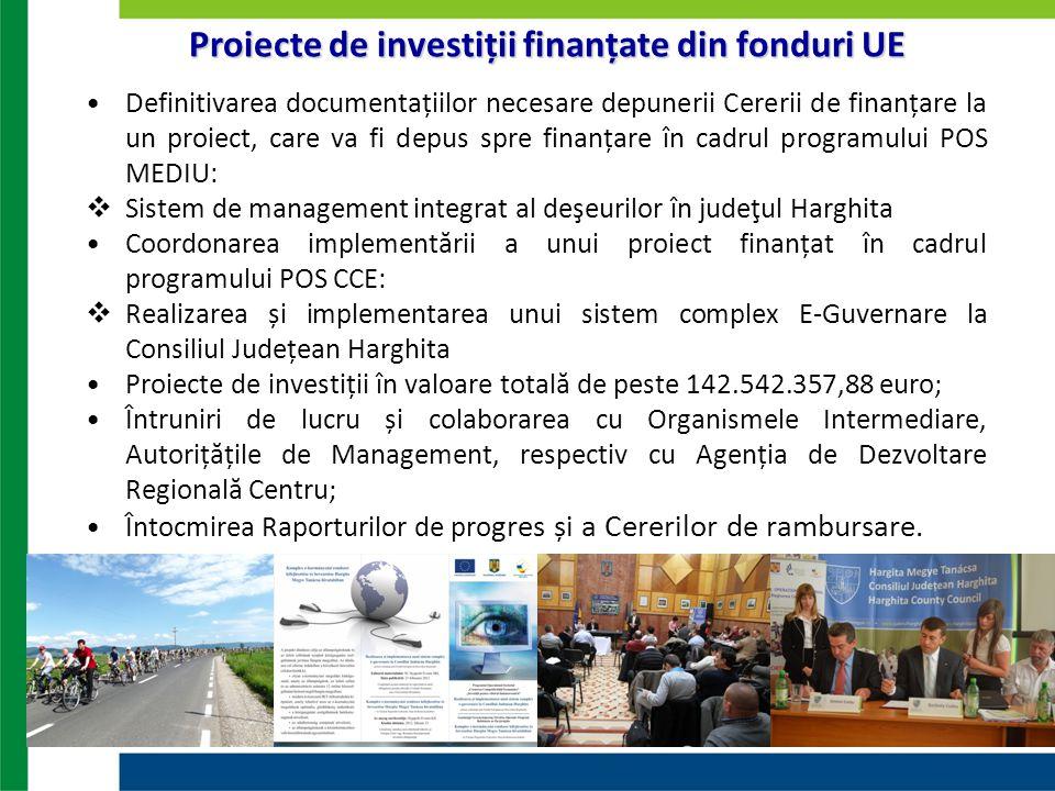 Definitivarea documentațiilor necesare depunerii Cererii de finanțare la un proiect, care va fi depus spre finanțare în cadrul programului POS MEDIU: