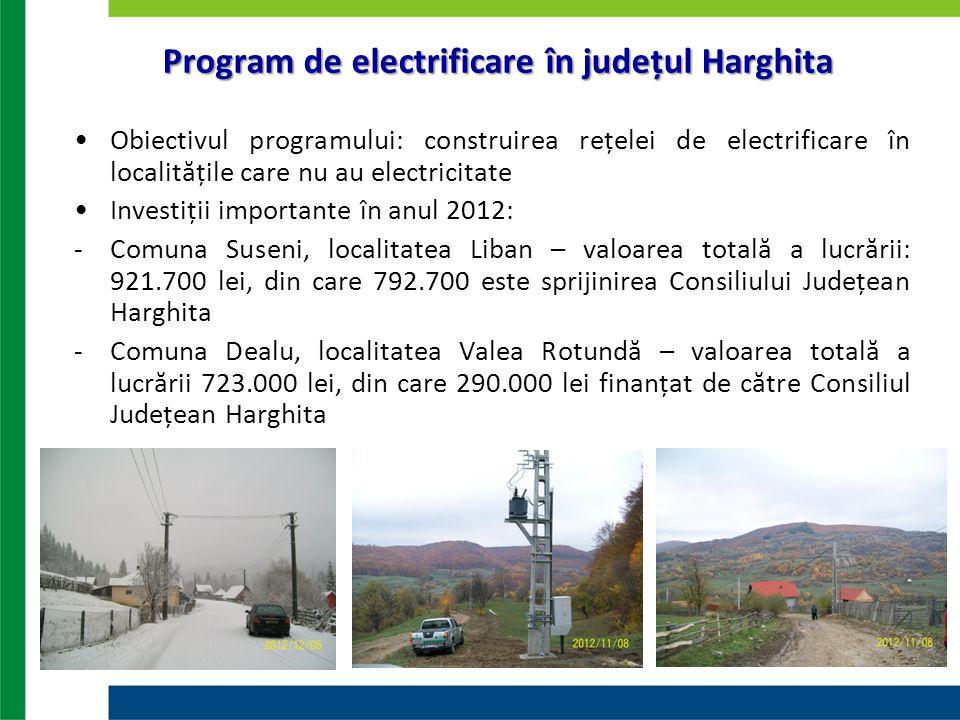 Program de electrificare în județul Harghita Obiectivul programului: construirea rețelei de electrificare în localitățile care nu au electricitate Inv