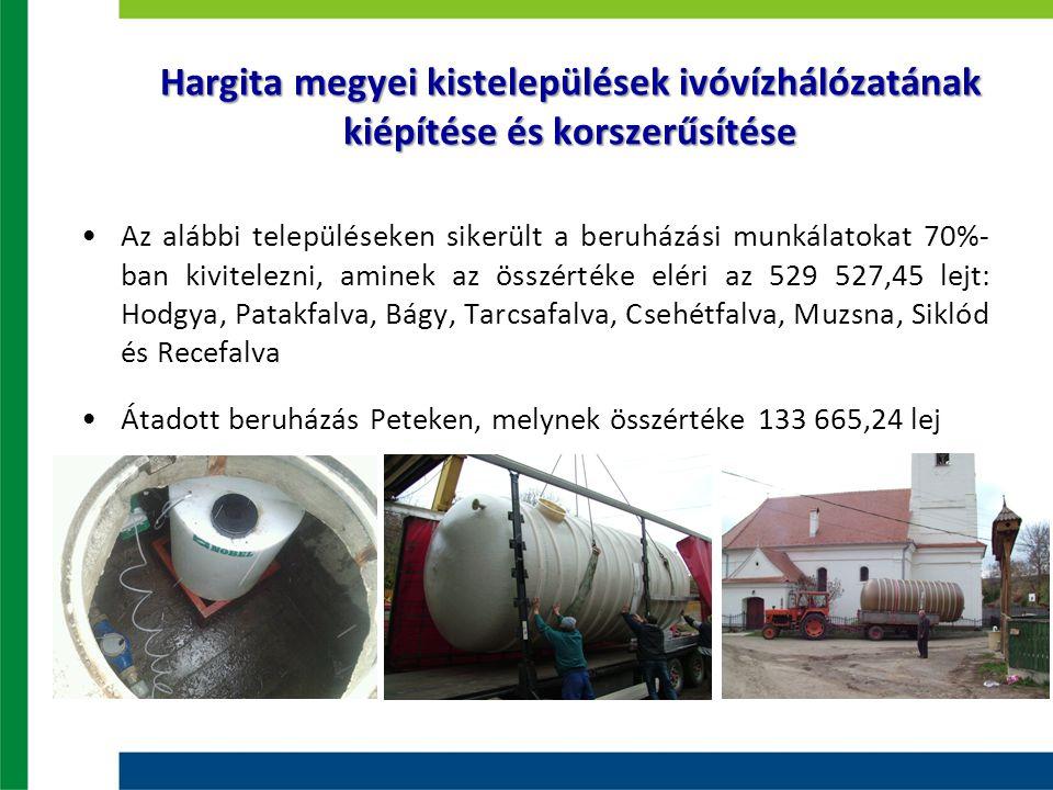 Hargita megyei kistelepülések ivóvízhálózatának kiépítése és korszerűsítése Az alábbi településeken sikerült a beruházási munkálatokat 70%- ban kivite