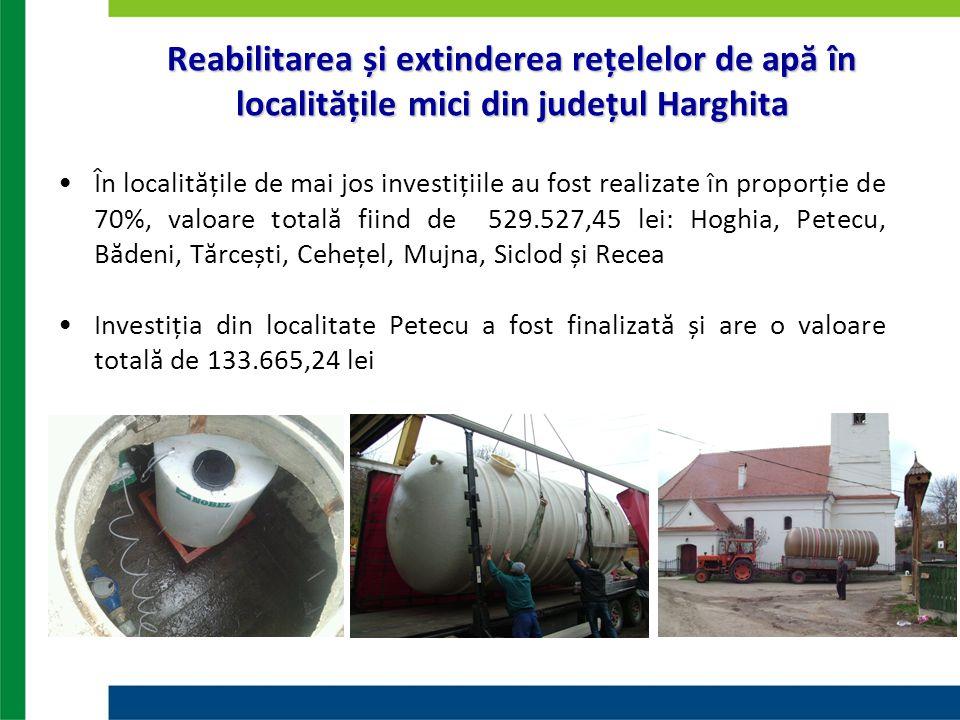 Reabilitarea și extinderea rețelelor de apă în localitățile mici din județul Harghita În localitățile de mai jos investițiile au fost realizate în pro