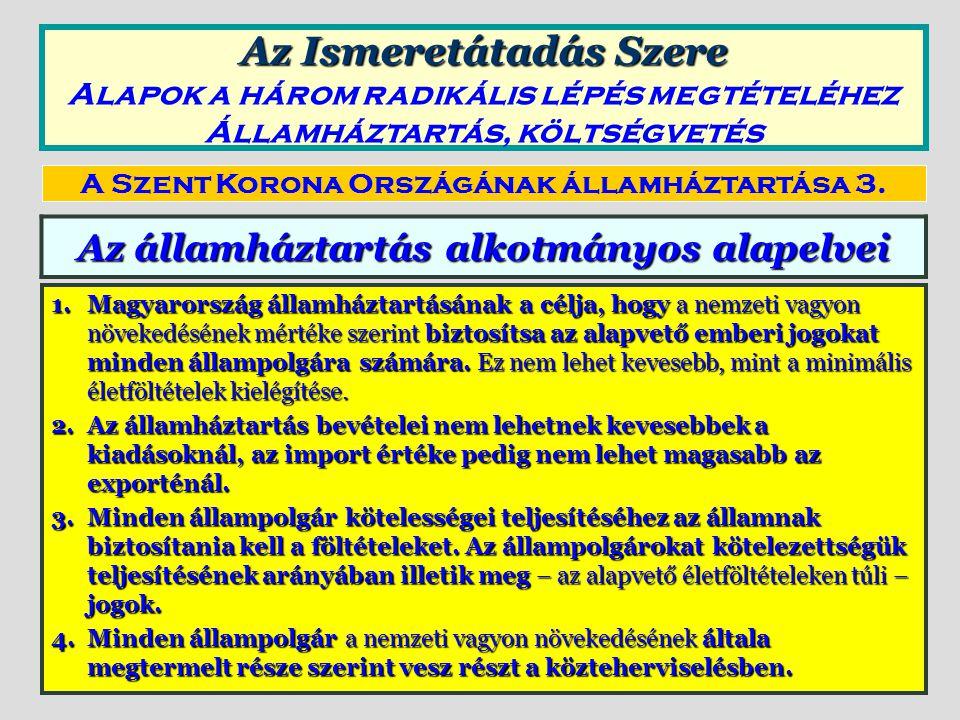 Az államháztartás alkotmányos alapelvei 1.Magyarország államháztartásának a célja, hogy a nemzeti vagyon növekedésének mértéke szerint biztosítsa az a