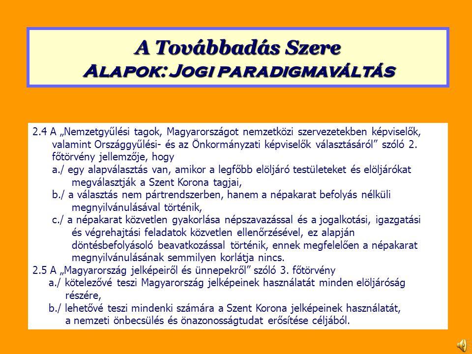 """2.4 A """"Nemzetgyűlési tagok, Magyarországot nemzetközi szervezetekben képviselők, valamint Országgyűlési- és az Önkormányzati képviselők választásáról szóló 2."""