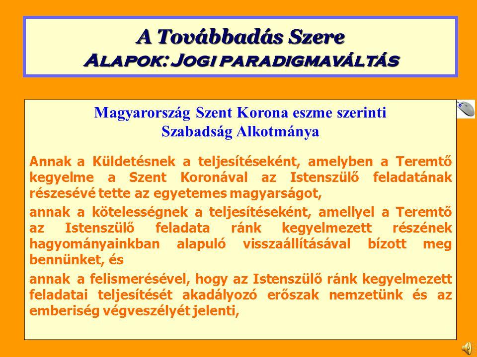 Magyarország Szent Korona eszme szerinti Szabadság Alkotmánya Annaka Küldetésnek a teljesítéseként, amelyben a Teremtő kegyelme a Szent Koronával az Istenszülő feladatának részesévé tette az egyetemes magyarságot, annaka kötelességnek a teljesítéseként, amellyel a Teremtő az Istenszülő feladata ránk kegyelmezett részének hagyományainkban alapuló visszaállításával bízott meg bennünket, és annaka felismerésével, hogy az Istenszülő ránk kegyelmezett feladatai teljesítését akadályozó erőszak nemzetünk és az emberiség végveszélyét jelenti, A Továbbadás Szere Alapok: Jogi paradigmaváltás