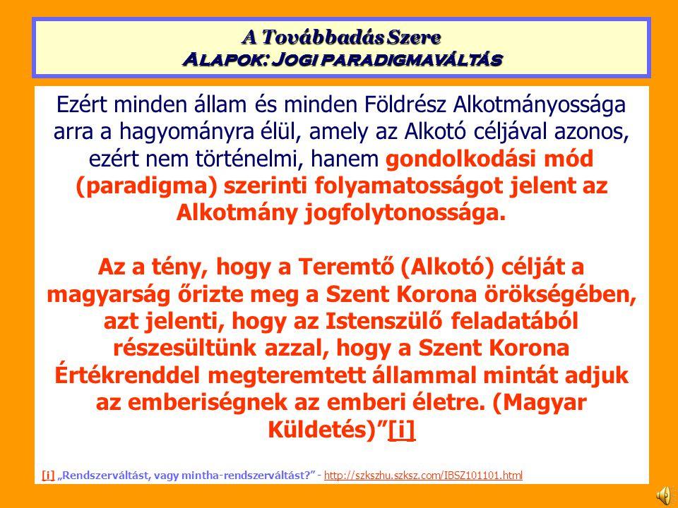 A jogrendszer felépítése Alkotmány Alaptörvény Alap- törvény szintű főtörvény Nemzet- közi szerződés Főtörvény (Az emberi alapjogok és kötelezettségek, Az államigazgatás, A családjogi, Vallás- és művelődésügyi, Az egészség, A gazdasági, A természet-kapcsolat, A büntető) A társa- dalmi csoportok főtörvénye 1.