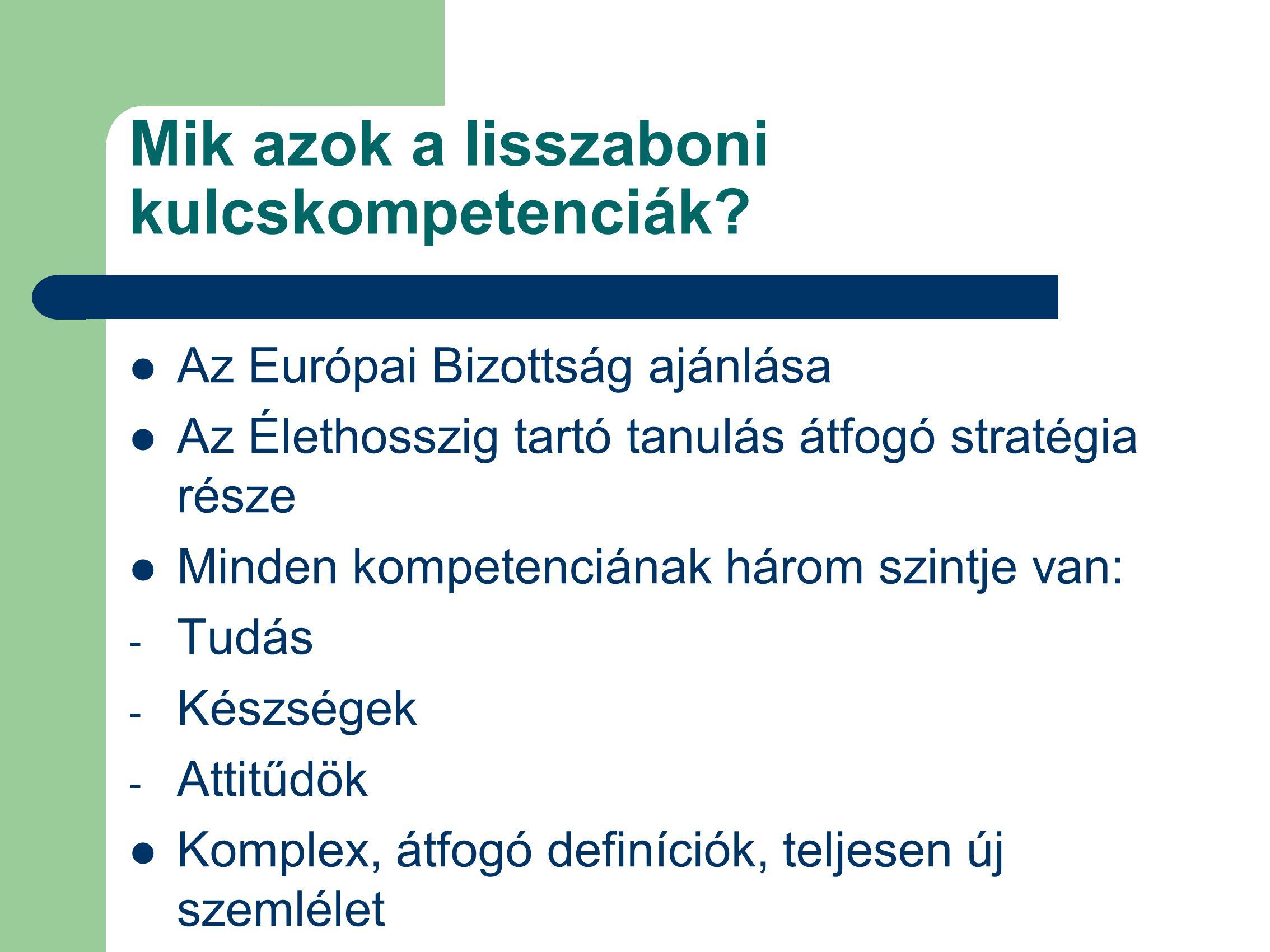 Mik azok a lisszaboni kulcskompetenciák? Az Európai Bizottság ajánlása Az Élethosszig tartó tanulás átfogó stratégia része Minden kompetenciának három
