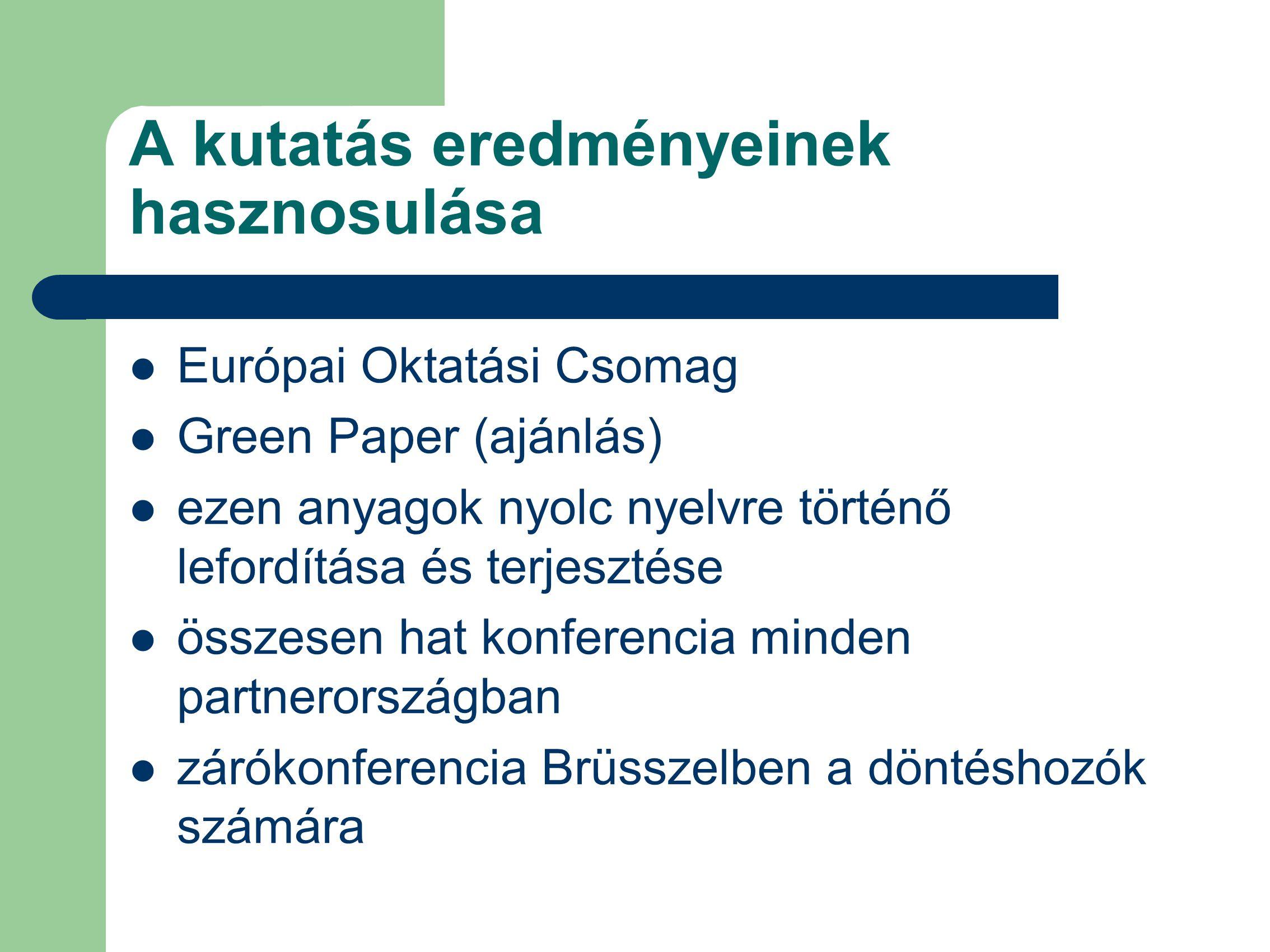 A kutatás eredményeinek hasznosulása Európai Oktatási Csomag Green Paper (ajánlás) ezen anyagok nyolc nyelvre történő lefordítása és terjesztése összesen hat konferencia minden partnerországban zárókonferencia Brüsszelben a döntéshozók számára