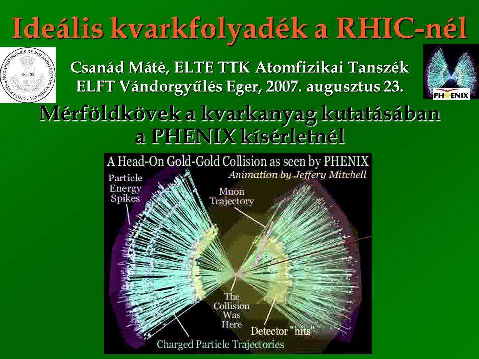 Csanád Máté, ELFT'07, Eger 2 Relativistic Heavy Ion Collider RHIC: Relativisztikus nehézion ütköztető RHIC: Relativisztikus nehézion ütköztető ─ Au+Au, Cu+Cu, p  +p , d+Au ütközések ─ 4 kísérleti együttműködés: BRAHMS, PHENIX, PHOBOS (Veres Gábor), STAR Magyar intézményi részvétel a PHENIX-ben: Magyar intézményi részvétel a PHENIX-ben: ─ KFKI: Csörgő T., Hidas P., Ster A., Sziklai J., Zimányi J.
