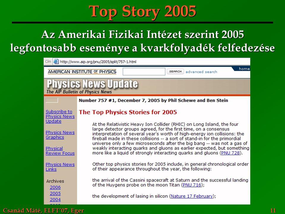 Csanád Máté, ELFT'07, Eger 11 Top Story 2005 Az Amerikai Fizikai Intézet szerint 2005 legfontosabb eseménye a kvarkfolyadék felfedezése