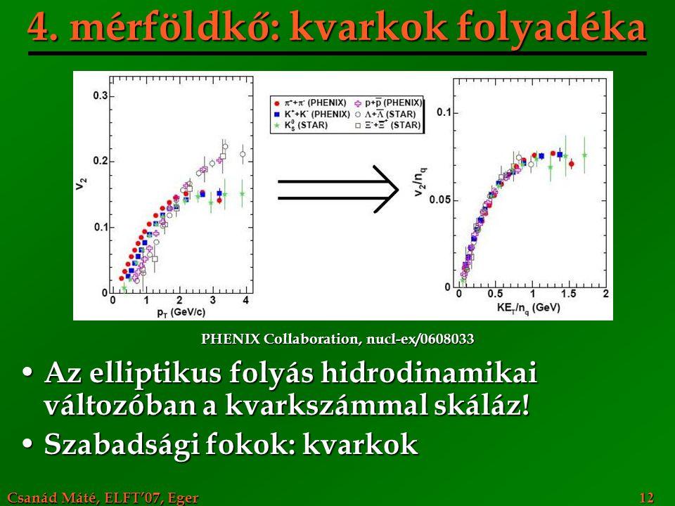 Csanád Máté, ELFT'07, Eger 12 4. mérföldkő: kvarkok folyadéka Az elliptikus folyás hidrodinamikai változóban a kvarkszámmal skáláz! Az elliptikus foly