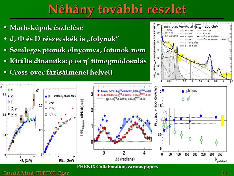 """Csanád Máté, ELFT'07, Eger 14 Néhány további részlet Mach-kúpok észlelése Mach-kúpok észlelése d, Φ és D részecskék is """"folynak"""" d, Φ és D részecskék"""