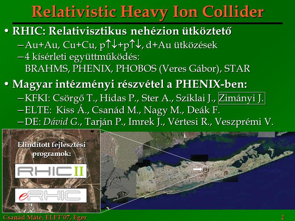 Csanád Máté, ELFT'07, Eger 23 PHENIX Fotonok, elektronok, müonok, hadronok azonosítása Fotonok, elektronok, müonok, hadronok azonosítása A reakció összes szakaszának vizsgálata A reakció összes szakaszának vizsgálata Áthatoló próbák: korai állapotot tükrözik Áthatoló próbák: korai állapotot tükrözik Hadronok: kifagyáskori állapot Hadronok: kifagyáskori állapot