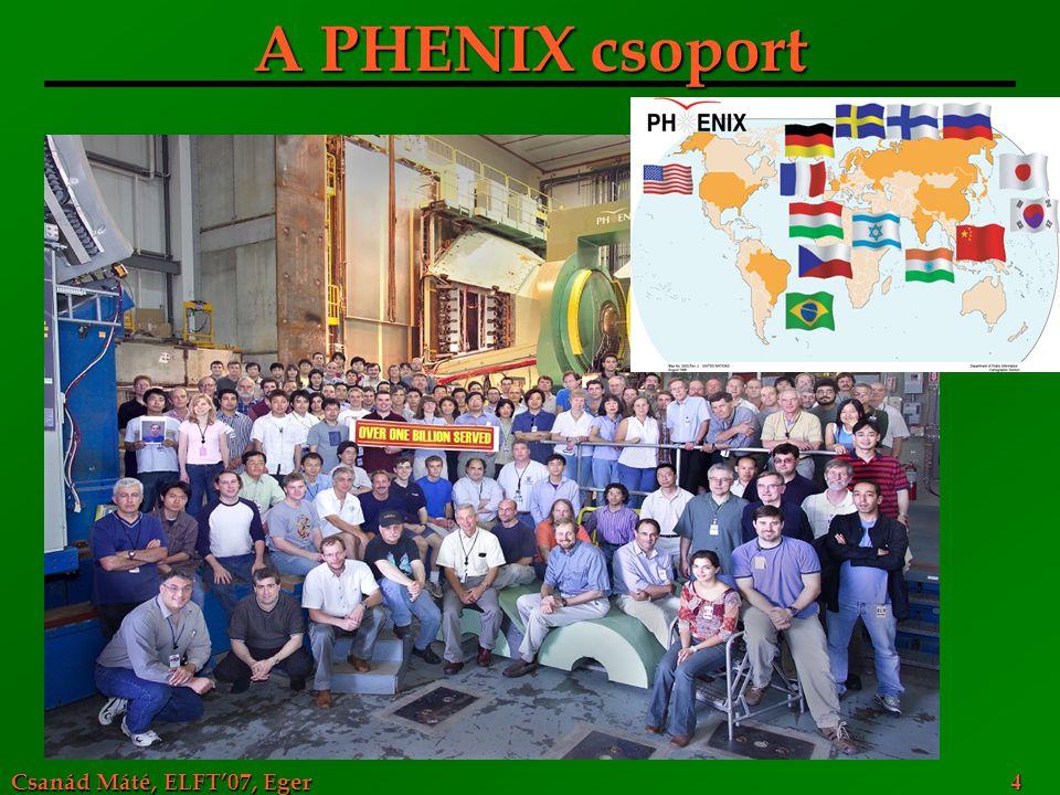 Csanád Máté, ELFT'07, Eger 4 A PHENIX csoport