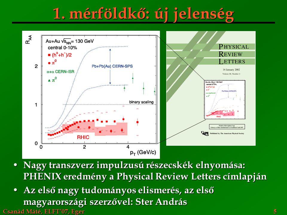 Csanád Máté, ELFT'07, Eger 5 1. mérföldkő: új jelenség Nagy transzverz impulzusú részecskék elnyomása: PHENIX eredmény a Physical Review Letters címla