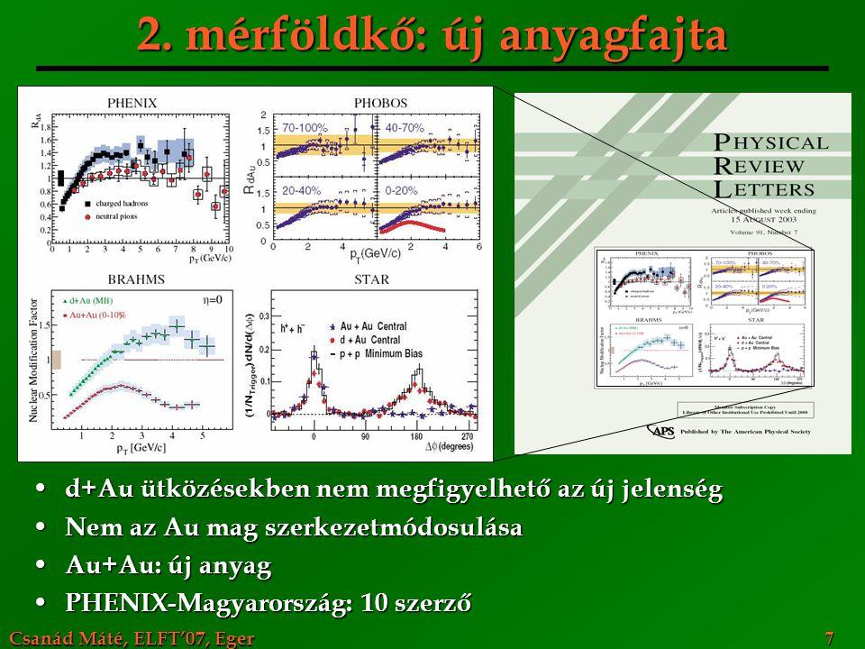 Csanád Máté, ELFT'07, Eger 7 2. mérföldkő: új anyagfajta d+Au ütközésekben nem megfigyelhető az új jelenség d+Au ütközésekben nem megfigyelhető az új