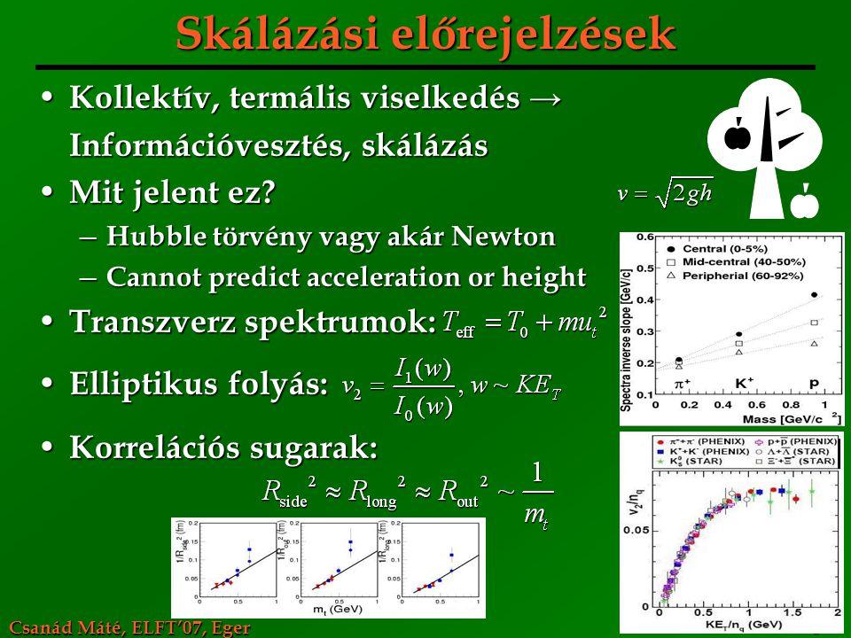 Csanád Máté, ELFT'07, Eger 8 Skálázási előrejelzések Kollektív, termális viselkedés → Kollektív, termális viselkedés → Információvesztés, skálázás Mit
