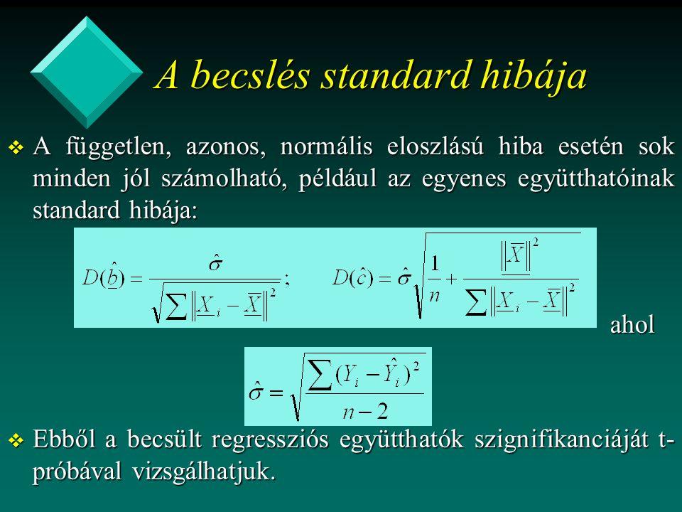 A becslés standard hibája v A független, azonos, normális eloszlású hiba esetén sok minden jól számolható, például az egyenes együtthatóinak standard hibája: ahol ahol v Ebből a becsült regressziós együtthatók szignifikanciáját t- próbával vizsgálhatjuk.