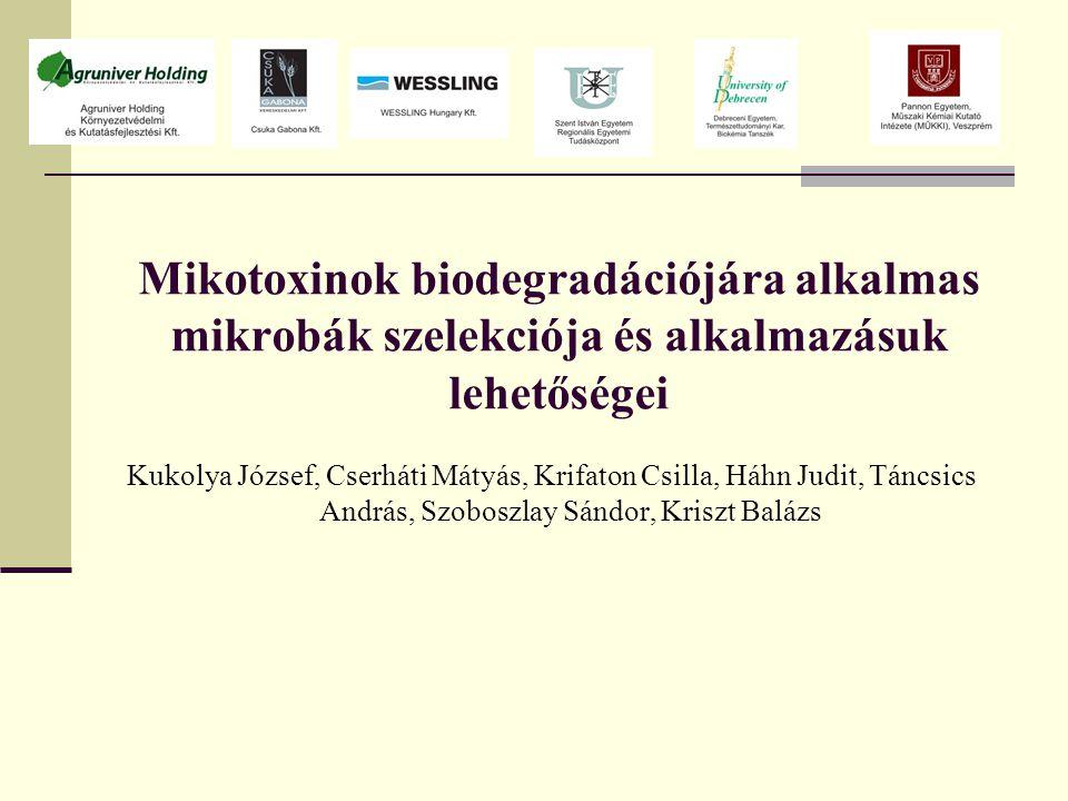 Mikotoxinok biodegradációjára alkalmas mikrobák szelekciója és alkalmazásuk lehetőségei Kukolya József, Cserháti Mátyás, Krifaton Csilla, Háhn Judit, Táncsics András, Szoboszlay Sándor, Kriszt Balázs