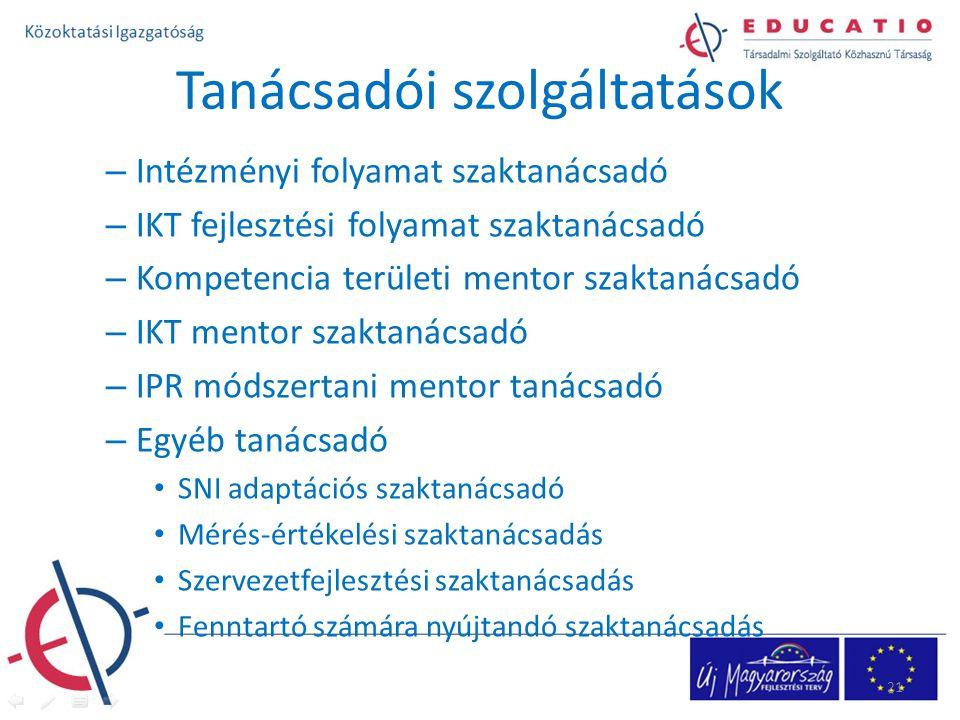 Tanácsadói szolgáltatások – Intézményi folyamat szaktanácsadó – IKT fejlesztési folyamat szaktanácsadó – Kompetencia területi mentor szaktanácsadó – IKT mentor szaktanácsadó – IPR módszertani mentor tanácsadó – Egyéb tanácsadó SNI adaptációs szaktanácsadó Mérés-értékelési szaktanácsadás Szervezetfejlesztési szaktanácsadás Fenntartó számára nyújtandó szaktanácsadás 21